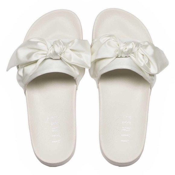 huge discount ffa08 5b976 PUMA X FENTY | White Satin Bow Slide Sandals